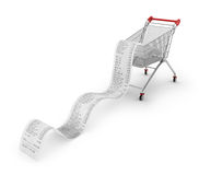 Shopping Trolley With long Receipts Royalty Free Stock Images