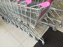 Shopping trolley in the marketplace Stock Image