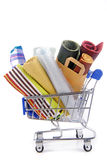 Shopping trolley with materials Royalty Free Stock Image