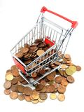 Shopping trolley with money royalty free stock photo