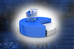 Shopping trolley with pie chart Stock Photo