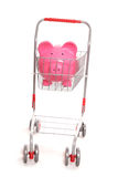 Shopping trolley with piggy bank. Cutout Royalty Free Stock Images