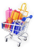 Shopping trolley with presents gifts. Isoalted on white Royalty Free Stock Photography