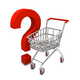 Shopping trolley and question sign vector illustration