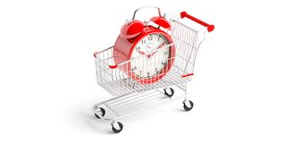 Shopping trolley and a red alarm clock isolated on white background. 3d illustration. Time for shopping. Shopping cart and a red alarm clock isolated on white Royalty Free Stock Photography