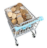Shopping trolley with russian coins isolated. On white background Royalty Free Stock Image