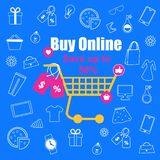 Shopping Trolley with Sale Tags on Blue Background. With Outline Sketchy Male and Female Things. Fashion. Clothing, Food, Accessories, Gifts. Buy Online. Save vector illustration