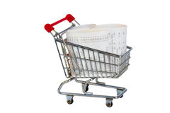 Shopping Trolley with sales receipt Royalty Free Stock Photography