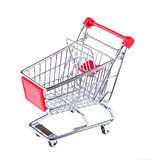 Shopping trolley. Shopping trolley isolated on white. Stock Images