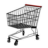 Shopping trolley silhouette. Isolated object over white background Stock Photo