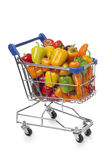 Shopping trolley with sweet mini peppers Stock Photo