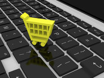 Shopping trolley symbol on keyboard Royalty Free Stock Photography