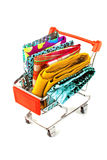 Shopping trolley with textile Stock Photo