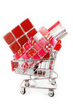 Shopping trolley with tiles Stock Photography