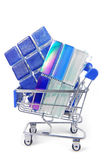 Shopping trolley with tiles Stock Image