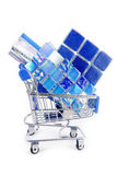 Shopping trolley with  tiles Stock Images