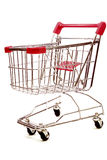 Shopping trolley on white background 4. Red and silver shopping trolley on white background Stock Photography