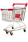Shopping trolley on white background 5. Red and silver shopping trolley on white background Royalty Free Stock Photography