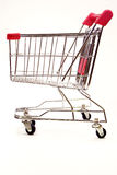 Shopping trolley on white background 6. Red and silver shopping trolley on white background Stock Images