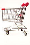Shopping trolley on white background 7. Red and silver shopping trolley on white background Royalty Free Stock Image