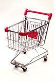 Shopping trolley on white background 9. Red and silver shopping trolley on white background Stock Photo