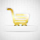 Shopping trolley on white Stock Photo