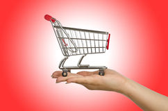 Shopping trolley. On white you Stock Image
