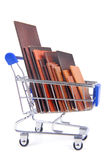 Shopping trolley with wooden timber planks Stock Photos