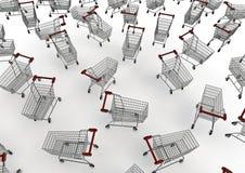 Shopping trolleys. 3D render of dozens of shopping trolleys Stock Images