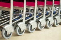 Shopping Trolleys. Close up of shopping Trolleys Stock Image