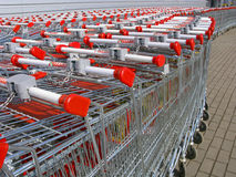 Shopping trolleys. Before entering at hypermarket in Moscow Royalty Free Stock Photos