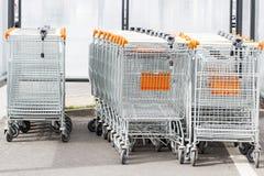 Shopping trolleys near the mega mall. stock photo