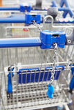 Shopping Trolleys Outside Tesco Supermarket Royalty Free Stock Image