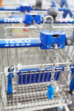 Shopping Trolleys Outside Tesco Supermarket Stock Photography