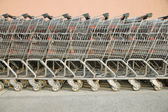 Shopping trolleys in  a row Royalty Free Stock Image