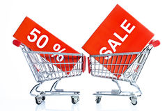 Shopping trolleys with sales icons Royalty Free Stock Photos