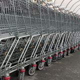 Shopping trolleys - square Royalty Free Stock Photo