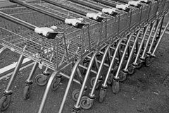 Shopping trollies carts. Photo of supermarket shopping trollies in a row Royalty Free Stock Photo