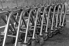 Shopping trollies. Photo of supermarket shopping trollies in a trolly park Royalty Free Stock Photography