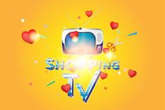 Shopping TV. The concept for online sale with voluminous text, a retro TV and red hearts on a orange background with light effects. Flat vector illustration Stock Photography
