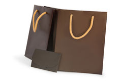 Shopping two bags with cardboard Stock Images