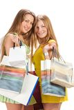 Shopping. Two beautiful girl with bag Stock Images