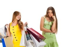 Shopping. Two beautiful girl with bag Stock Image