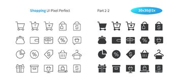 Shopping UI Pixel Perfect Well-crafted Vector Thin Line And Solid Icons 30 2x Grid for Web Graphics and Apps. Simple Minimal Pictogram Part 2-2 Stock Images