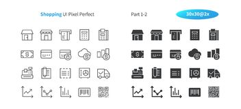 Shopping UI Pixel Perfect Well-crafted Vector Thin Line And Solid Icons 30 2x Grid for Web Graphics and Apps. Simple Minimal Pictogram Part 1-2 Royalty Free Stock Photos