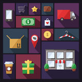 Shopping vector background with sectors. Modern flat design. Stock Images