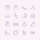 Shopping vector icons set. Fashion symbols Stock Photo