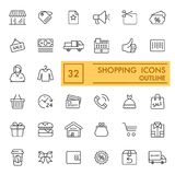 Shopping vector icons set. Thin flat icons, outline design. Eps 10 Royalty Free Stock Photography