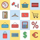 Shopping vector icons Royalty Free Stock Photo