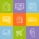 Shopping vector line icon set Stock Photography